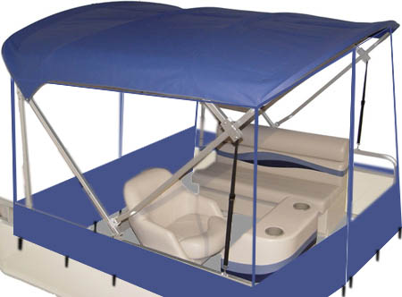pontoon quick weather enclosure in blue polyester