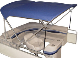 pontoon bimini top in blue sunbrella
