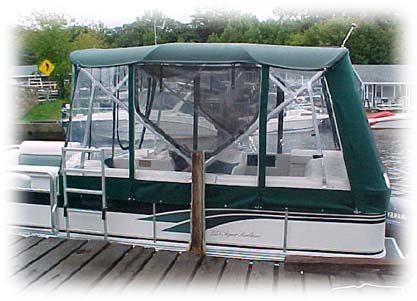 pontoon half enclosure in green sunbrella